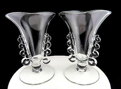 """Heisey Glass Set Of 2 Lariat Blown Crystal Square Top 7"""" Vase 1942-1957"""