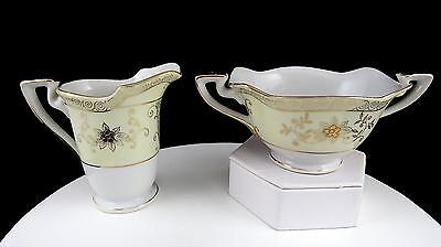 "Nippon Porcelain Gold Flower Basket On Cream Band 3 1/2"" Cream & Sugar"