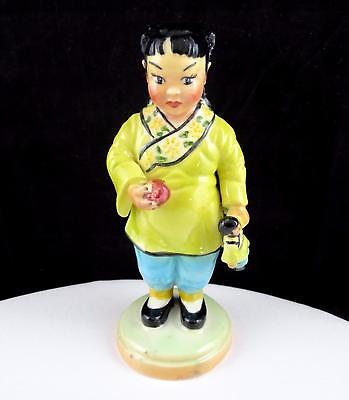 """Bb Keeler Signed Chinese Girl Holding Doll Yellow & Blue 6 3/8"""" Figurine"""
