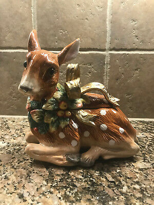Fitz & Floyd Snowy Woods Deer Covered Candy Dish