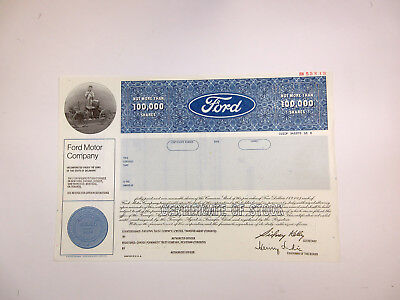 MI. Ford Motor Co., 1980 Specimen Not More Than 100,000 Shares XF SC-USBN Blue