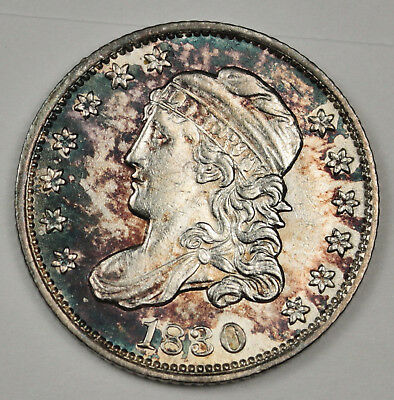 1830 Bust Half Dime.  Gorgeous Color.  Must see in person.  A.U.  116675