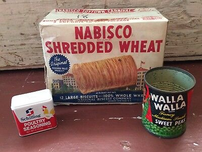 Vintage Primitive Lot Of 3 Empty Pantry - Shredded Wheat Box, Sweet Peas Can