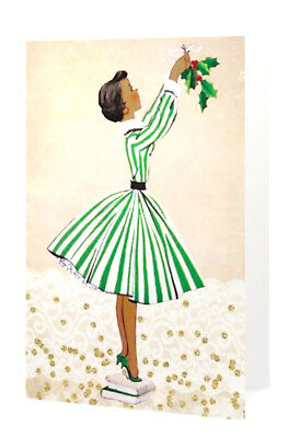 African American Lady Green Christmas Holiday (Pack of 5 Greeting Cards)