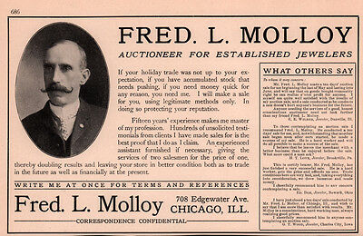 1909  Ad Fred Molloy Jewelry Auctioneer