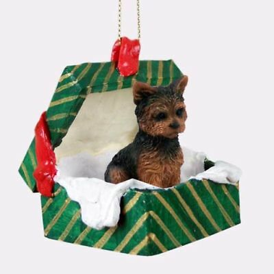Yorkshire Terrier Sport Cut Dog Green Gift Box Holiday Christmas ORNAMENT