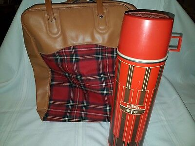 Vintage Picnic Set Red Plaid Bag w/ Thermos King-Seely Bottle