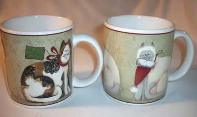 Sakura Fiddlestix:  2 CHRISTMAS CATS Stoneware Mugs: EXC: NR