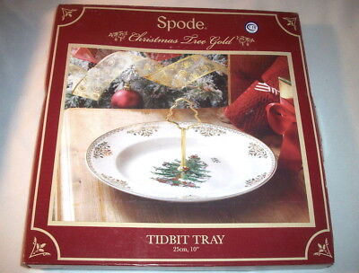 Spode CHRISTMAS TREE GOLD S3324-A14: Handled Tidbit Server in Box: EXC: NR