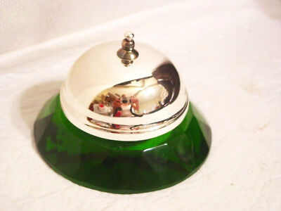 Shannon Irish Green Faceted Crystal & Metal Reception Desk Counter Service Bell