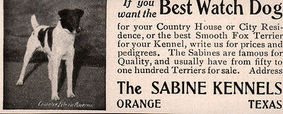 Early Ad  Smooth Fox Terriers Sabine Kennels Orange Texas