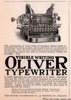 Ad Lot Of 9 1900 B - 21  Ads Oliver Typewriter Co No 3 No 5 No 9