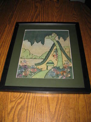 Rare Mission Style Embroidery & Paint Framed Cottage Scene With Flowers And Tree