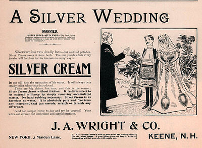 1900 a AD  WRIGHT CO SILVER CREAM KEENE NH BRIDE GROOM MINISTER