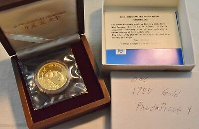 1987 1 oz. China Gold Panda Sino American Friendship Medal New Orleans Ounce OGP