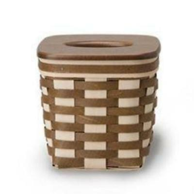 NEW  Longaberger Simple Living Tall Tissue basket with lid in Vintage