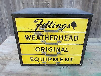 Vintage WEATHERHEAD Parts Cabinet 4 Divided Drawers