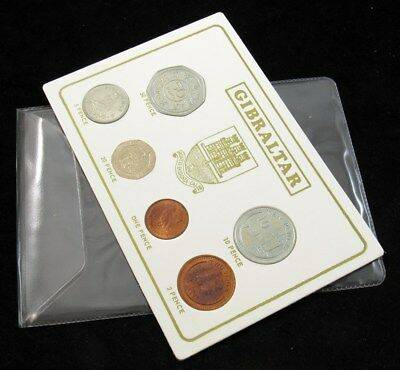 1988 Gibraltar 6-Coin Mint Set in Display Case - All UNC/BU - 1 to 50 Pence