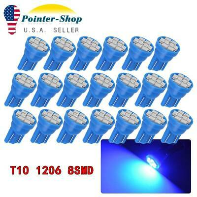 20x Blue T10 8SMD Led Interior Instrument Panel Light Bulbs W5W 158 168 192 194