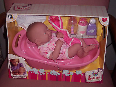 "New JC Toys Berenguer 14"" La Newborn Doll With Bath Set & Accessories NIB"