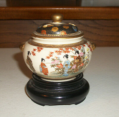 Small Incense Burner Jar with Stand Japan Satsuma 1910s