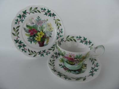 Vintage Queen Anne Academy Green & Pink Floral Pretty Tea Trio Cup Saucer Plate