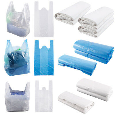 Retail Supermarket Strong Takeaway Plastic Shopping Vest Carrier Bags Handles