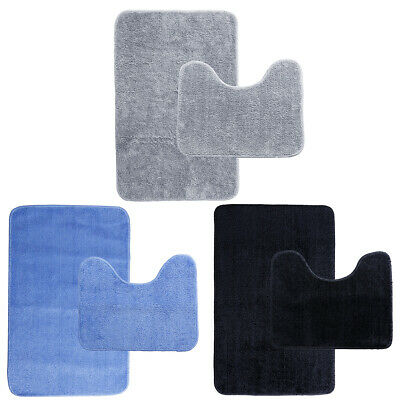 2 x BATH & PEDESTAL MAT TOILET SET NON SLIP REVERSE MACHINE WASHABLE BATHMAT SET