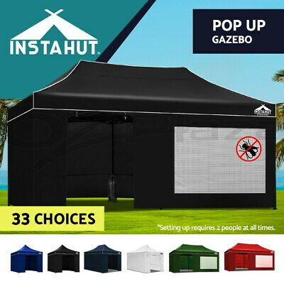 Instahut 3x3m/ 4.5m/ 6m Outdoor Gazebo Folding Marquee Tent Canopy Pop Up Party
