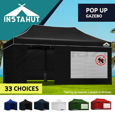 Instahut 3x3m/4.5m/6m Outdoor Gazebo Folding Wedding Marquee Tent Canopy Pop Up