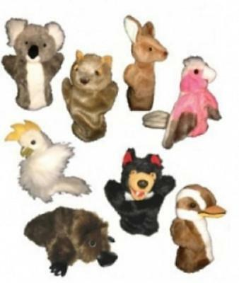 Plush Hand Puppet Animals & Birds - Farm & Australian Kookaburra Rainbow Lorikee