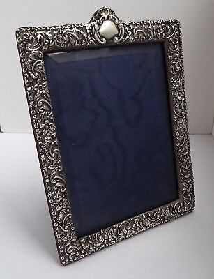 Beautiful Large English Antique Victorian 1898 Solid Sterling Silver Photo Frame