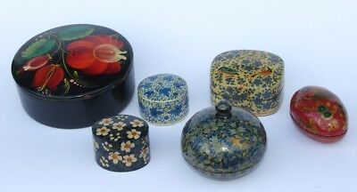 Job Lot Vintage Handpainted Papier Mache Trinket Boxes inc Kashmir Folk Art