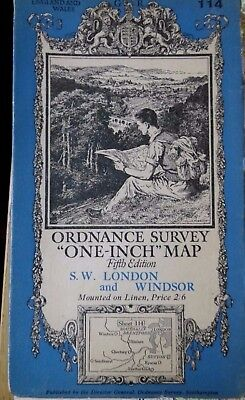 London South West-Windsor-Surrey:1934-6 Ordnance Map Ellis Martin Cover-On Linen