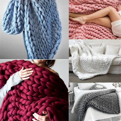 Soft Warm Hand Chunky Knit Blanket Thick Yarn Wool Bulky Bed Knitted Throw AU