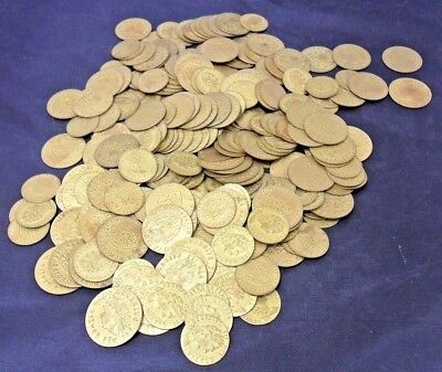 """Counters """"Spade Guineas"""" Vintage Gold Tone Gaming Tokens - Job Lot 270+"""