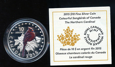 2015 $10 The Northern Cardinal - Songbirds of Canada Fine Silver Coin C717