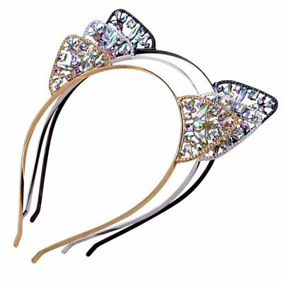 Women Girls Metal Rhinestone Cat Ear Headband Hair band Costume Party Cosplay