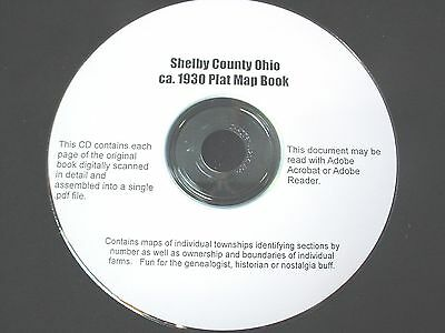 CD ~ 1930's Shelby County Ohio Plat Map Book