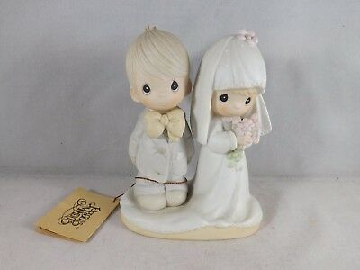 """1979 Precious Moments """"The Lord Bless You and Keep You"""" Wedding Couple"""