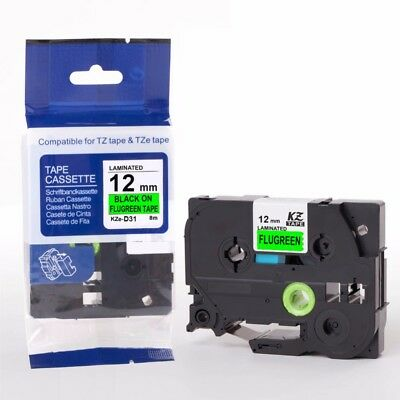 Compatible Brother TZE-D31 Black on Fluorescent Green 12mmx8m PTouch Label Tape
