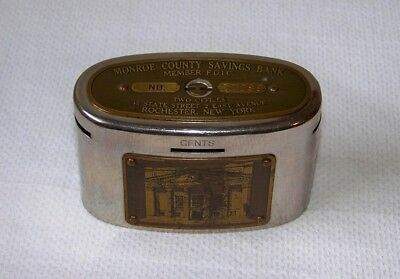 Antique Automatic Recording Safe Co WEALTHOMETER Monroe County Savings Coin Bank