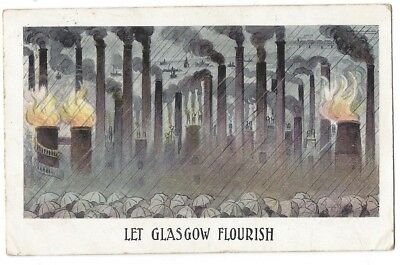 Let Glasgow Flourish, Chimneys Industrial, Old Postcard Postally Used 1906