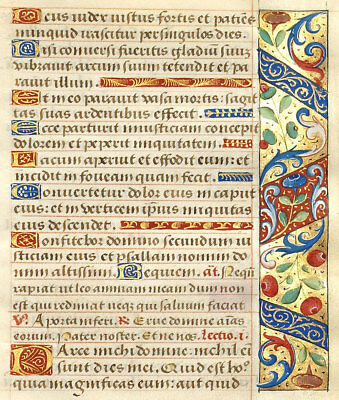 ILLUMINATED MANUSCRIPT BOOK OF HOURS LEAF c1470 COLORFUL VIBRANT BORDER W/ GOLD