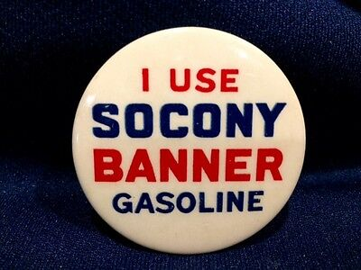 Old I Use Socony Banner Gasoline Advertising Pin Pinback Badge Button