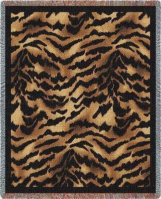 "TIGER ""SKIN"" PRINT CAT KITTEN TAPESTRY AFGHAN THROW BLANKET USA MADE 53"" x 70"""