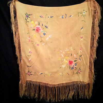 VINTAGE 20s / 40s antique SILK floral fringed scarf piano shawl wrap EMBROIDERED