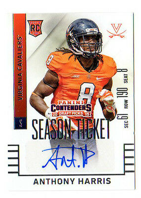 Anthony Harris 2015 Panini Contenders Draft Picks Autograph (Vikings) Rc