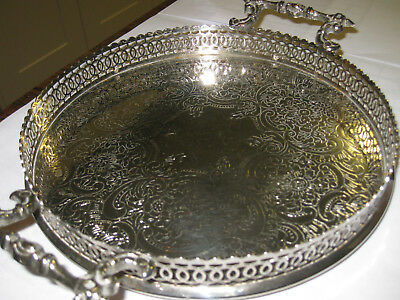 Round  Silverplate Gallery Tray - 8 & 1/2 Inches in Diameter