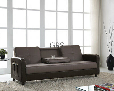 Sofa Bed with Magazine Pocket Cup Holder Faux Leather 3 Seater Modern Design